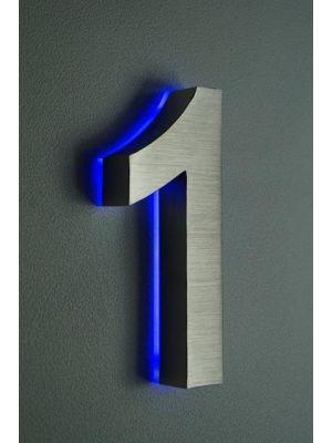 RVS 20cm BLAUW LED Huisnummer 1 inclusief 12 volt netvoeding adapter