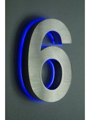 RVS 20cm BLAUW LED Huisnummer 6 inclusief 12 volt netvoeding adapter