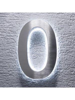 RVS 20cm WIT LED Huisnummer 0 inclusief 12 volt netvoeding adapter
