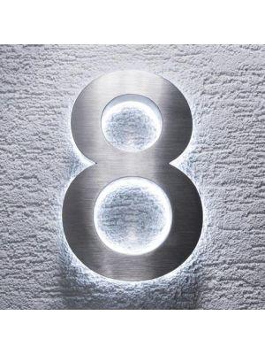RVS 20cm WIT LED Huisnummer 8 inclusief 12 volt netvoeding adapter