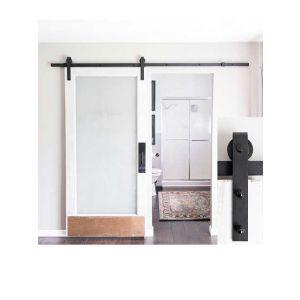 Schuifdeursysteem 150cm - Mat zwart Smeedijzereffect met hangrollen - 150cm